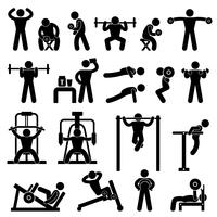 Gym Gymnasium Bodybuilding Oefening Training Fitness Workout. vector