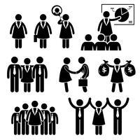 Zakenvrouw vrouwelijke CEO stok figuur Pictogram pictogram Cliparts. vector
