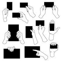 Hand met lege visitekaartje. vector