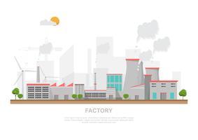 Industriële fabriek in een vlakke stijl.