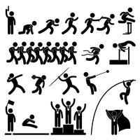 Sportveld en atletiekwedstrijd Atletiekevenement Winnaar Viering Pictogram Symbool Si. vector