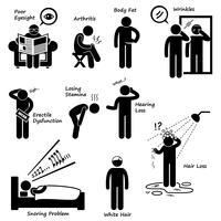 Teken van veroudering man groeiende oude symptomen stok figuur Pictogram pictogram.