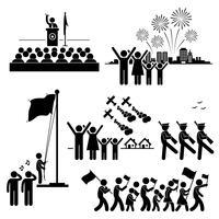 Mensen vieren nationale dag Independence Patriottische vakantie stok figuur Pictogram pictogram. vector