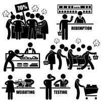 Supermarkt markt Shoppers Crazy haasten winkelen promotie Man stok figuur Pictogram pictogram. vector