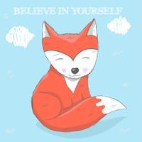 Schattige kleine Fox hand getrokken vector