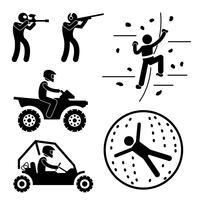 Extreem moeilijk spel voor de mens Paintball Clay Schieten Rotsklimmen Quad Biking Zorbbal Sport Stick Figure Pictogram Pictogram vector