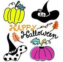 halloween clipart kaart met kleurrijke pompoenen en schattige heksen hoeden met tekst happy halloween formulering hand getekende cartoon vector