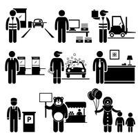 Slechte banen van laaggeklasseerde beroepen. vector