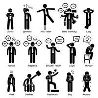 Zakenman houding persoonlijkheden tekens stok figuur Pictogram pictogrammen. vector