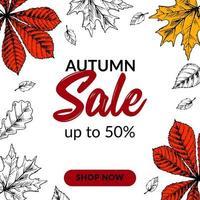 handgetekende herfstverkoopbanner met prachtige bladeren. vierkant herfstontwerp met ruimte voor tekst. vector illustratie