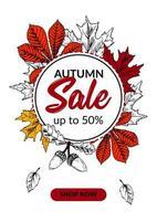 handgetekende herfstverkoopbanner met prachtige bladeren. verticaal herfstontwerp met ruimte voor tekst. vector illustratie