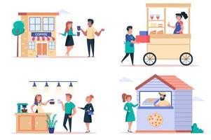 straatvoedsel winkel geïsoleerde elementen instellen. bundel mensen kopen drankjes in coffeeshop, kiosken met desserts, pizza in pizzeria-restaurant. schepper kit voor vectorillustratie in platte cartoon design vector