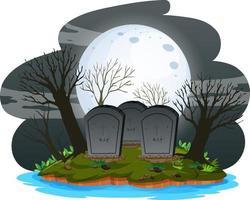 kerkhof 's nachts met supermaan vector