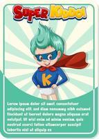 karakter spelkaartsjabloon met woord super kiddo vector