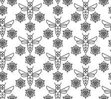 Naadloos patroon met oranje bijen in Monoline-stijl.
