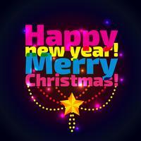 Inscriptie Gelukkig Nieuwjaar en Kerstmis,