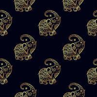 Gouden olifant naadloze patroon.