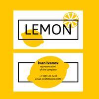 Visitekaartje citroen in een vlakke stijl.