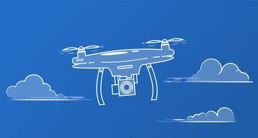 Vliegende drone met een camera in de lucht tussen de wolken vector