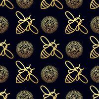 Naadloos patroon met gouden bij vector