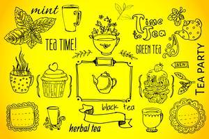 thee en zoetigheden - doodlesverzameling vector