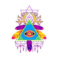 All-seeing eye pyramid-symbool. vector