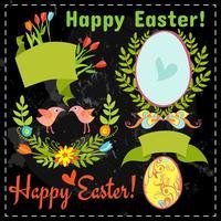 set floral elementen, eieren op het schoolbord