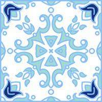 Portugese azulejotegels. Blauwe en witte prachtige naadloze patte vector