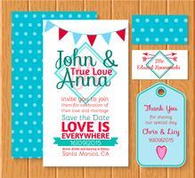 De huwelijksuitnodiging bewaart de datumkaarten