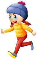 Klein meisje in de winterkleren lopen vector