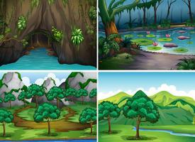 Vier scènes van bossen vector
