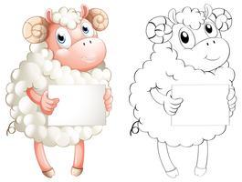 Overzicht van dieren voor schapen die papier vasthouden