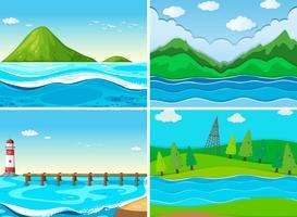 Oceaanscènes met groene heuvels