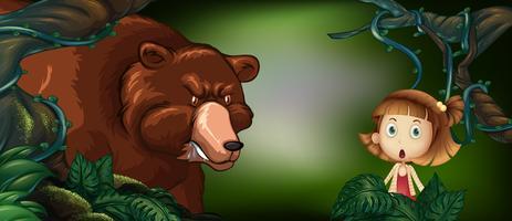 Grote beer en klein meisje in het bos vector