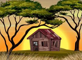 Oud plattelandshuisje op het gebied bij zonsondergang