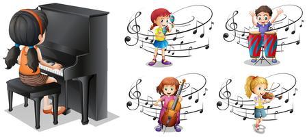 Kinderen die verschillende muziekinstrumenten spelen vector