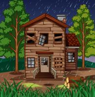 Scène met houten huis met gebroken vensters