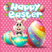 Gelukkige Pasen met konijntje en eieren op roze achtergrond