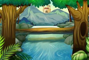Scène met rivier in het bos vector