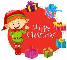 Kerstkaartsjabloon met elf het glimlachen