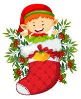 Kerstthema met elf in rode sok vector