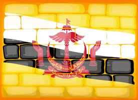 De vlag van Brunei op brickwall wordt geschilderd die vector
