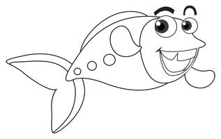 Dierlijke schets voor blije vissen vector