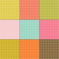 witte in elkaar grijpende cirkelspatronen op retro kleurenachtergronden