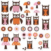 roze oranje mod Owl Clipart