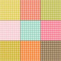 witte madeliefjepatronen op retro kleurenachtergronden vector