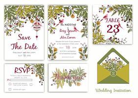Huwelijksuitnodiging, sparen de datum, RSVP-kaart, Bedankkaart, tabelnummer vector