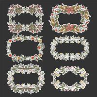 Floral krans schets achtergrond voor bruiloft.