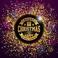 Vector Vrolijk kerst feest en gelukkig Nieuwjaar illustratie met typografie ontwerp op glanzende Glittered achtergrond. EPS 10.