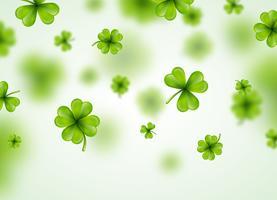Saint Patricks Day achtergrondontwerp met groene vallende klaverblaadjes blad. Ierse gelukkige vakantie vectorillustratie voor wenskaart, uitnodiging voor feest of promotie banner.